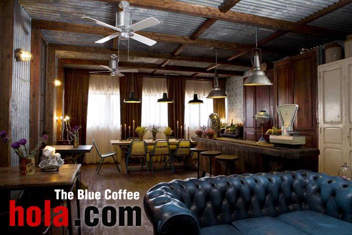 Imégenes del proyecto de interiorismo The Blue Coffee en el portal hola.com