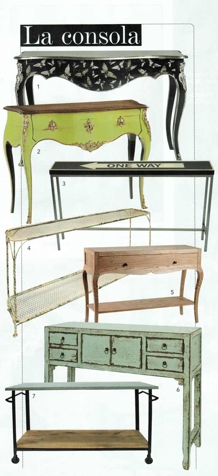 Fotos de las consolas de Francisco Segarra en Telva decoración.