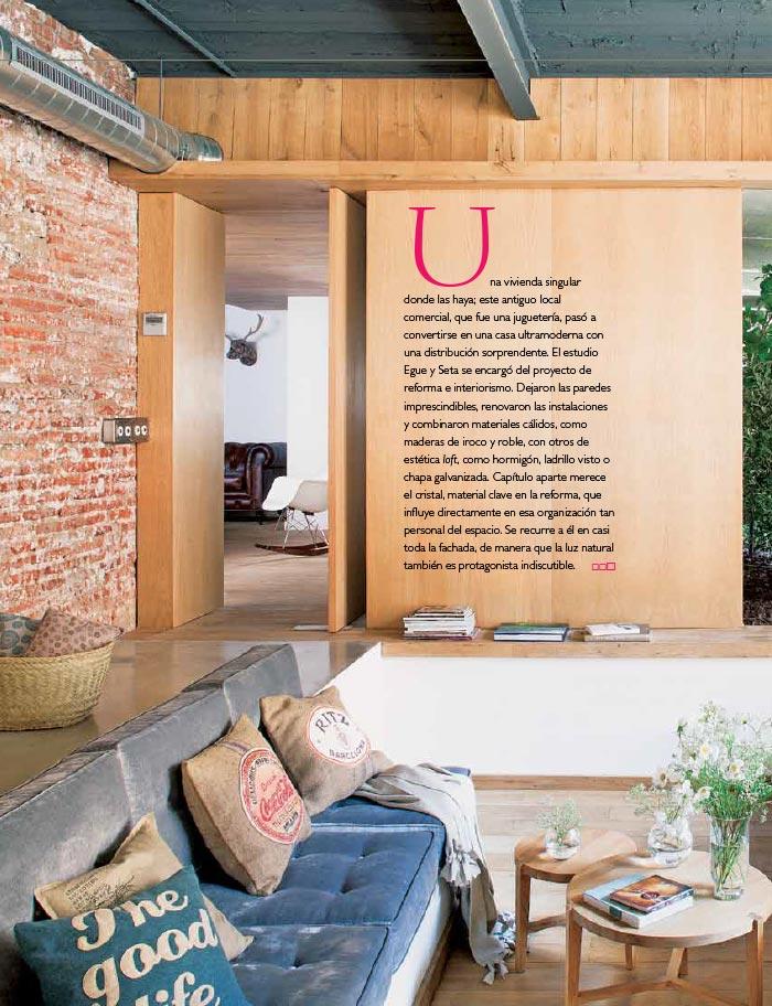 Foto de la decoración del loft industrial por EGUE Y SETA en revista micasa.
