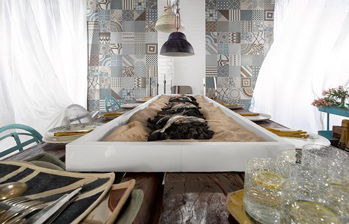 Foto de ambiente de Med Brasserie. Presentación del pavimento FS MELANGE.
