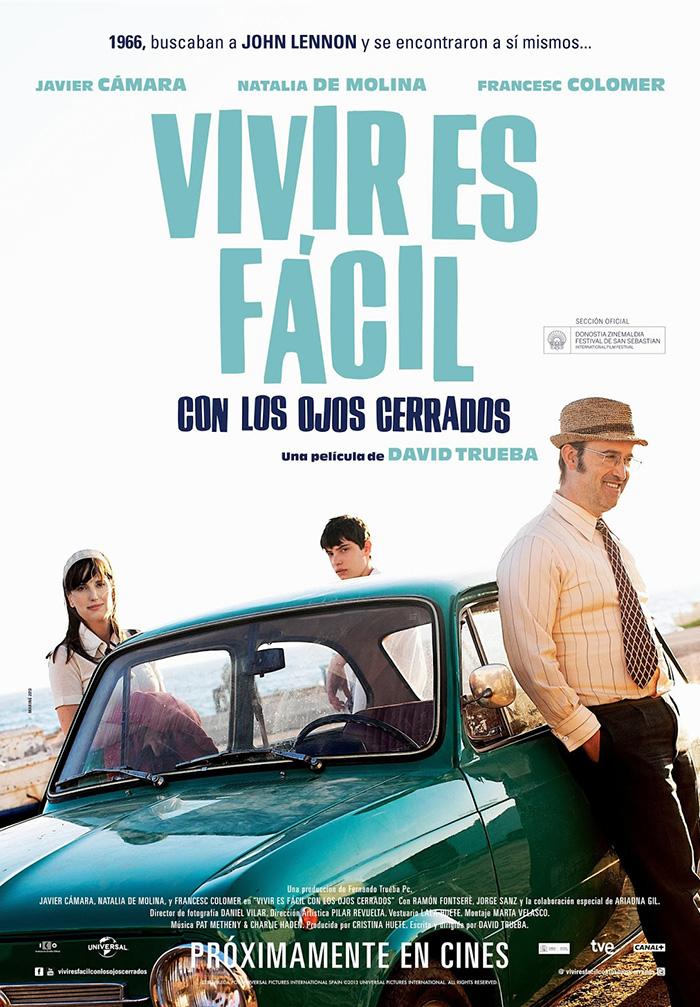 """Imágenes del cartel de la cinta """"Vivir es fácil con los ojos cerrados""""."""