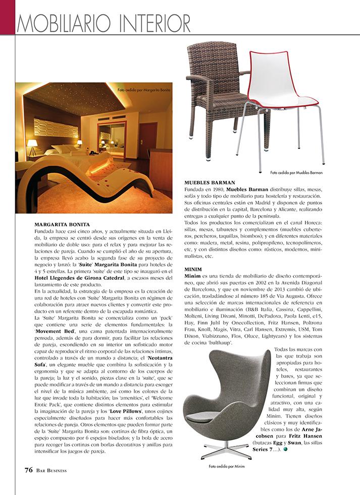 Fotos. Bar Bussines reportaje sobre muebles de hostelería.