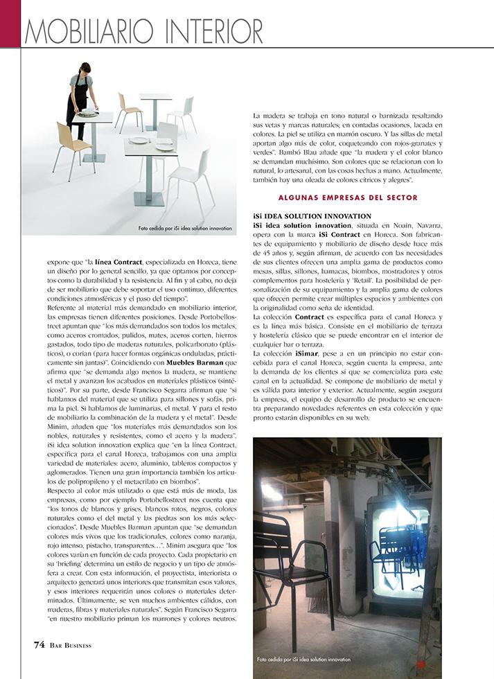 Fotos. Bar Bussines reportaje sobre mobiliario contract.