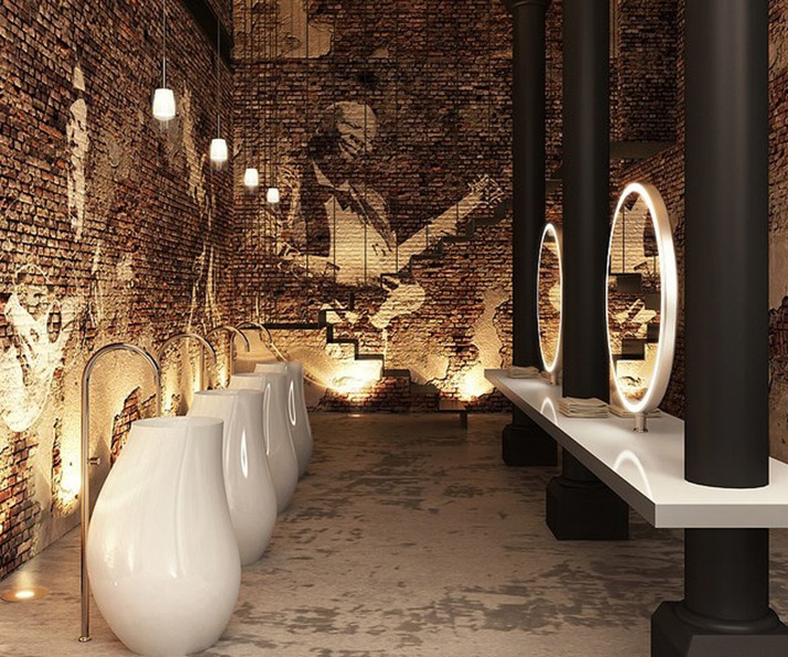 imágenes del diseño de baños en restaurantes.
