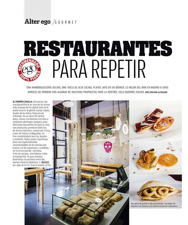 Reportaje Ego Magazine. Tendencias restaurantes.