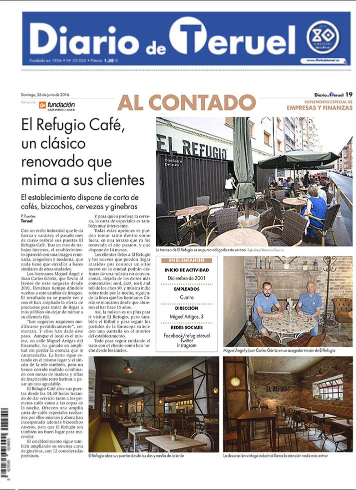 La nueva imagen de EL Refugio en el Diario de Teruel.