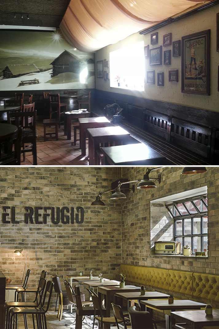 Antes y después del interiorismo y reforma de espacios comerciales.