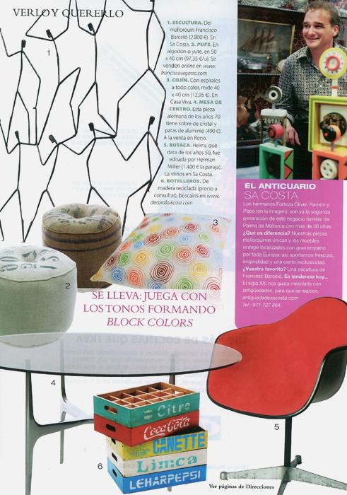 Reportaje revista Nuevo Estilo con mobiliario Francisco Segarra