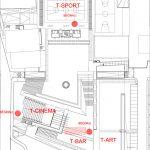 Plano del proyecto de interiorismo del restaurante T-AREA