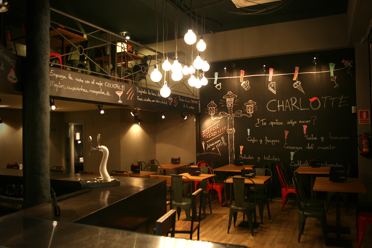 Proyecto de decoraci n de la cafeteria charlotte en barcelona for Mobiliario cafeteria