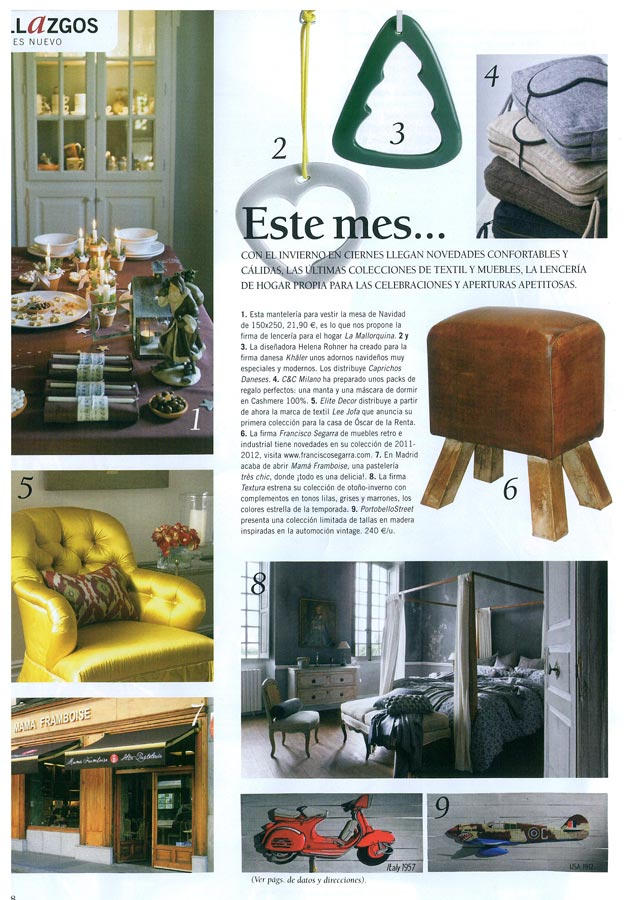 Interior de la revista Casa y Campo con mobiliario FS Francisco Segarra