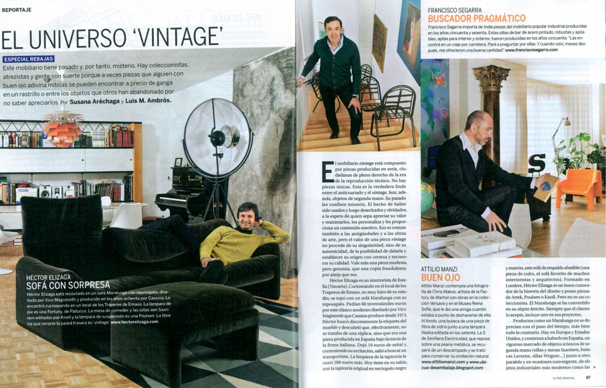 Reportaje de El País Semanal con mobiliario de la firma FS Francisco Segarra