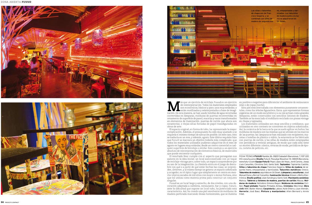 Reportaje de la revista Proyecto Contract con el proyecto de interiorismo del restaurante Fuuud