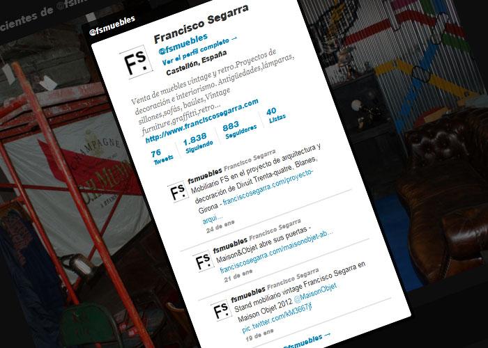 Twitter de la firma de muebles FS Francisco Segarra