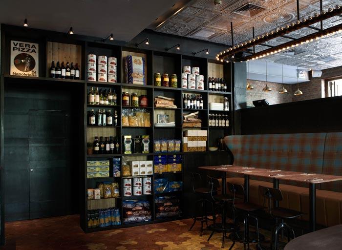 Imágenes de la decoración interior de la pizzeria restaurante Matto
