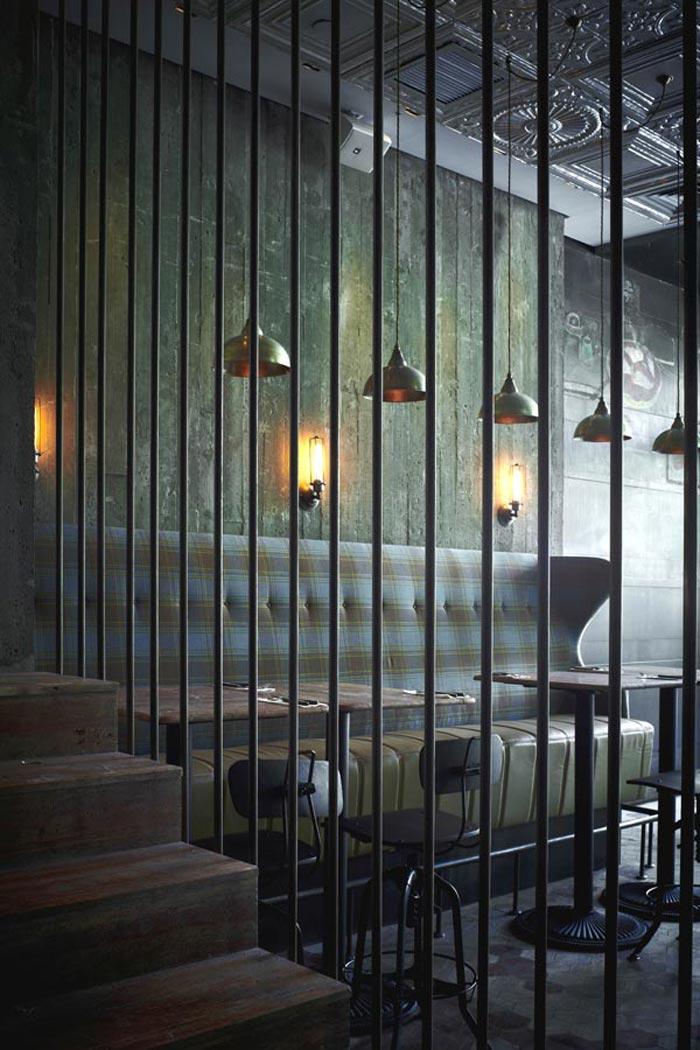 Imágenes del diseño interior de estilo industrial en la pizzería Matto