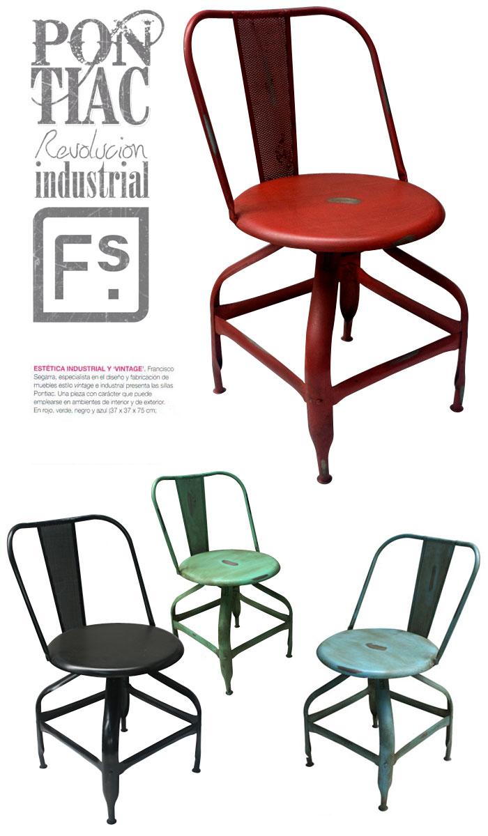 Imágenes de las sillas Pontiac de estilo industrial para hostelería