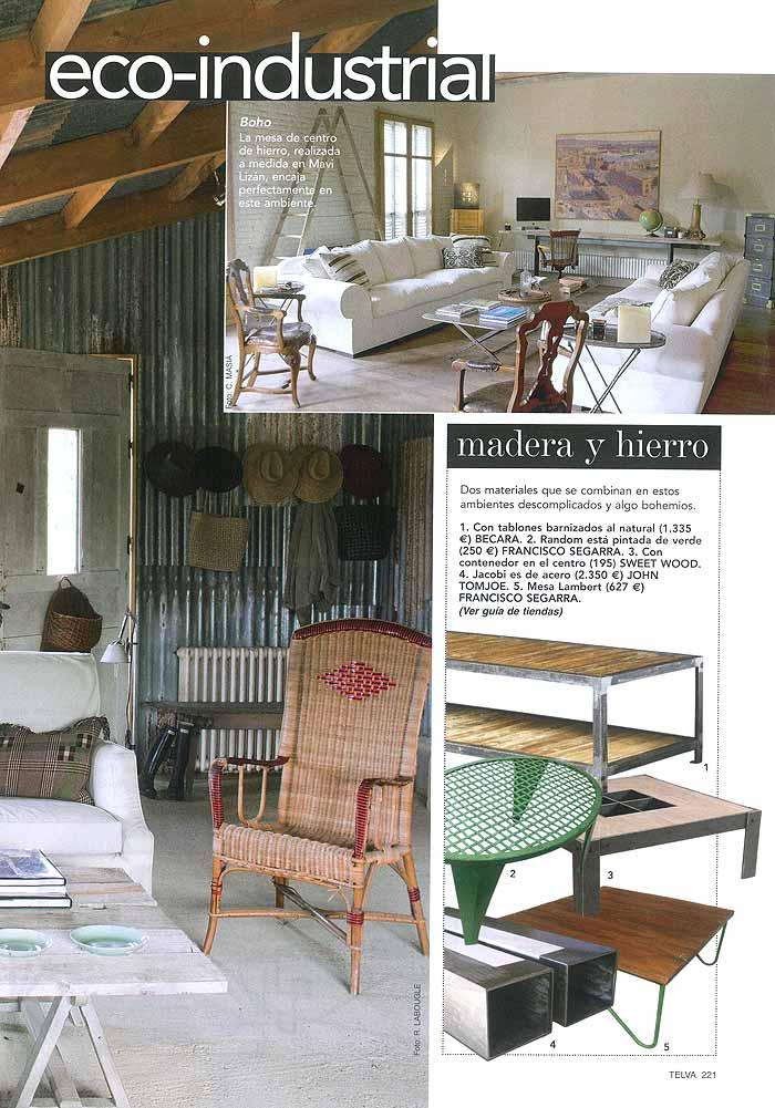 Las mesas de centro de estilo eco industrial en la revista for Mesas puestas con estilo