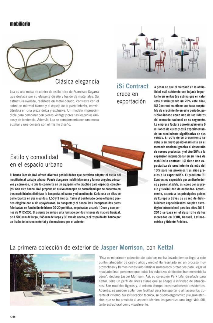 Imágenes de mobiliario contract Francisco Segarra en Equipamiento Hostelero
