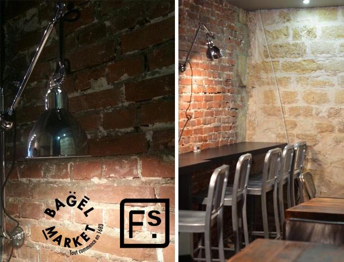 Fotos de mesas, sillas y taburetes en la cafetería Le Baguel Market