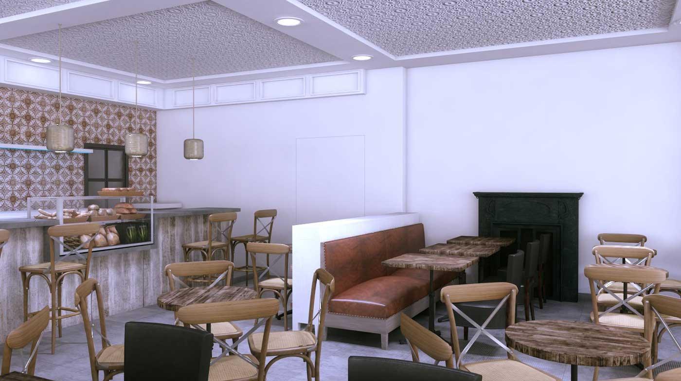 Imágenes de las infografías del interior de la cafetería Jamaica Coffee Shop