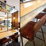 Imágenes del mobiliario pizzería La Fermata. Taburetes Rive de Francisco Segarra.