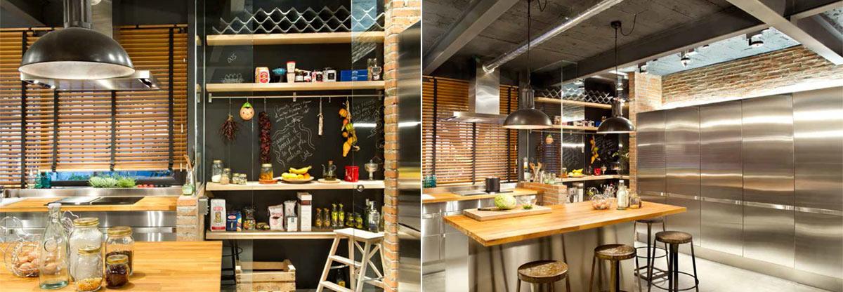 Foto de los muebles de cocina en el loft de estilo industrial, proyecto de EGUE Y SETA.