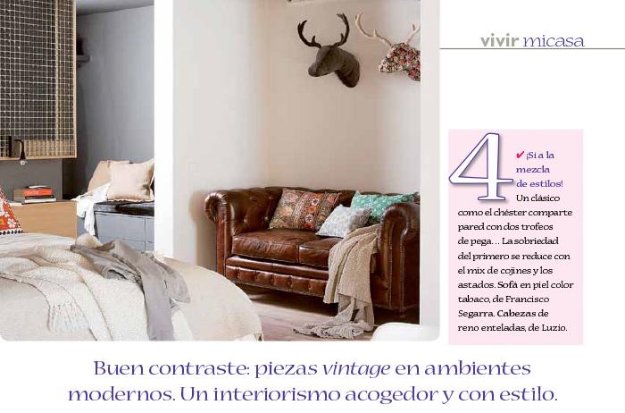 Foto del sofá Chester en la decoración del loft publicado en micasa.
