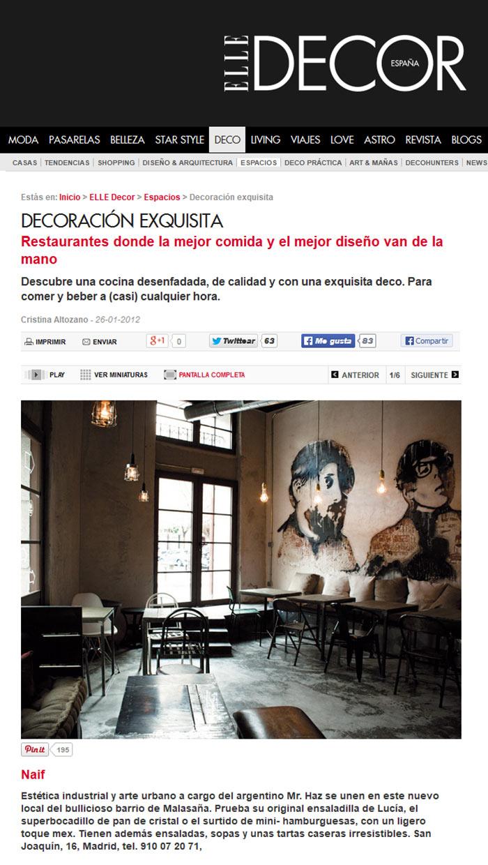 La decoración industrial del restaurante Naif en Elle Decor.
