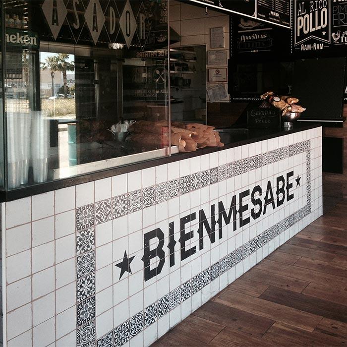 Fotos de la barra de bar en el asador Bienmesabe.