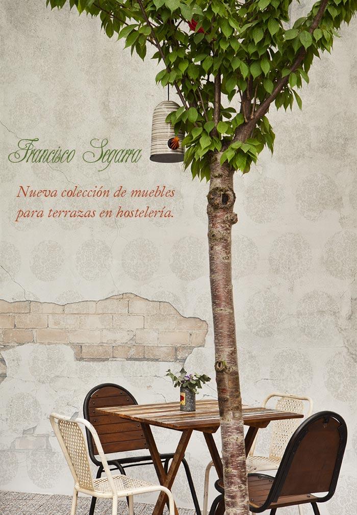 Imágenes de la nueva colección de sillas y mesas para terrazas de bar.
