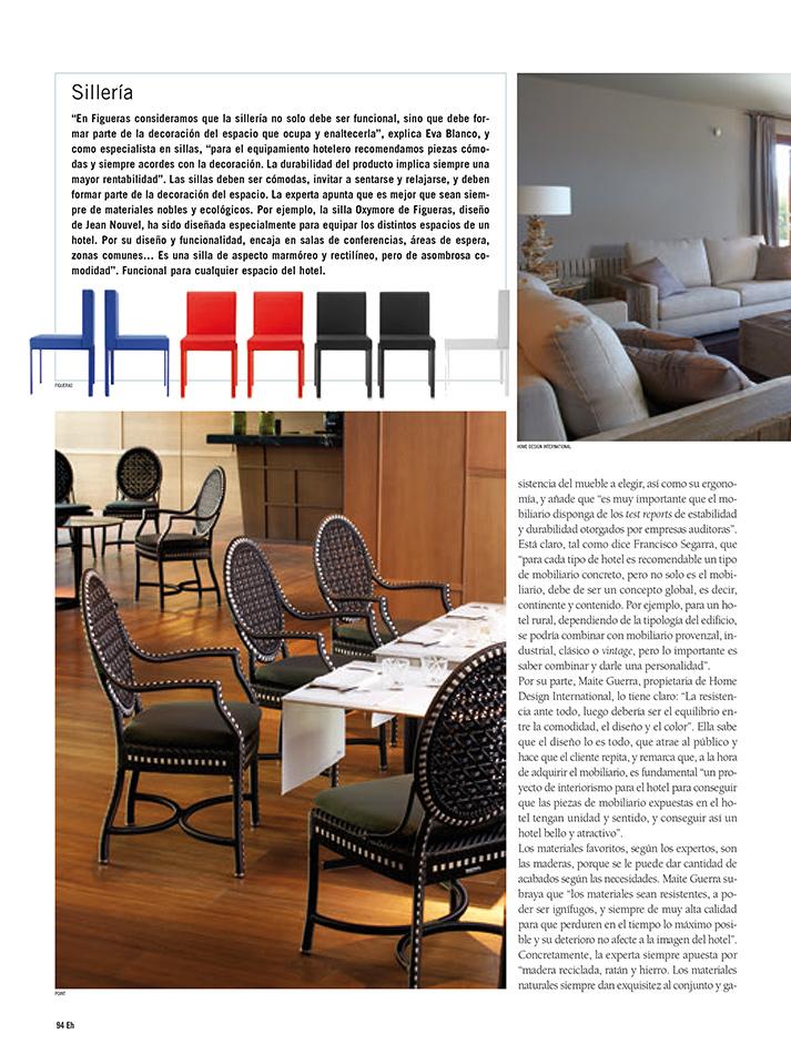 Fotos del reportaje sobre el mobiliario en la decoración del hotel.