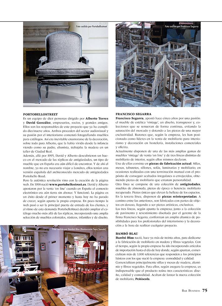 Fotos. Bar Bussines reportaje sobre muebles de interior sector Horeca.