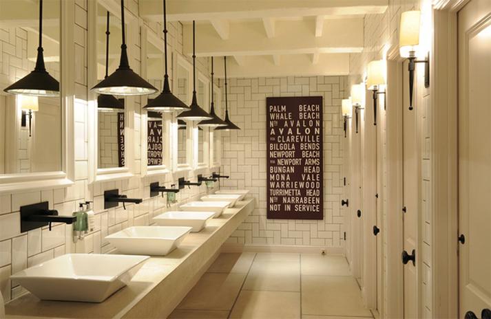 Ideas de decoración de baños para restaurantes.