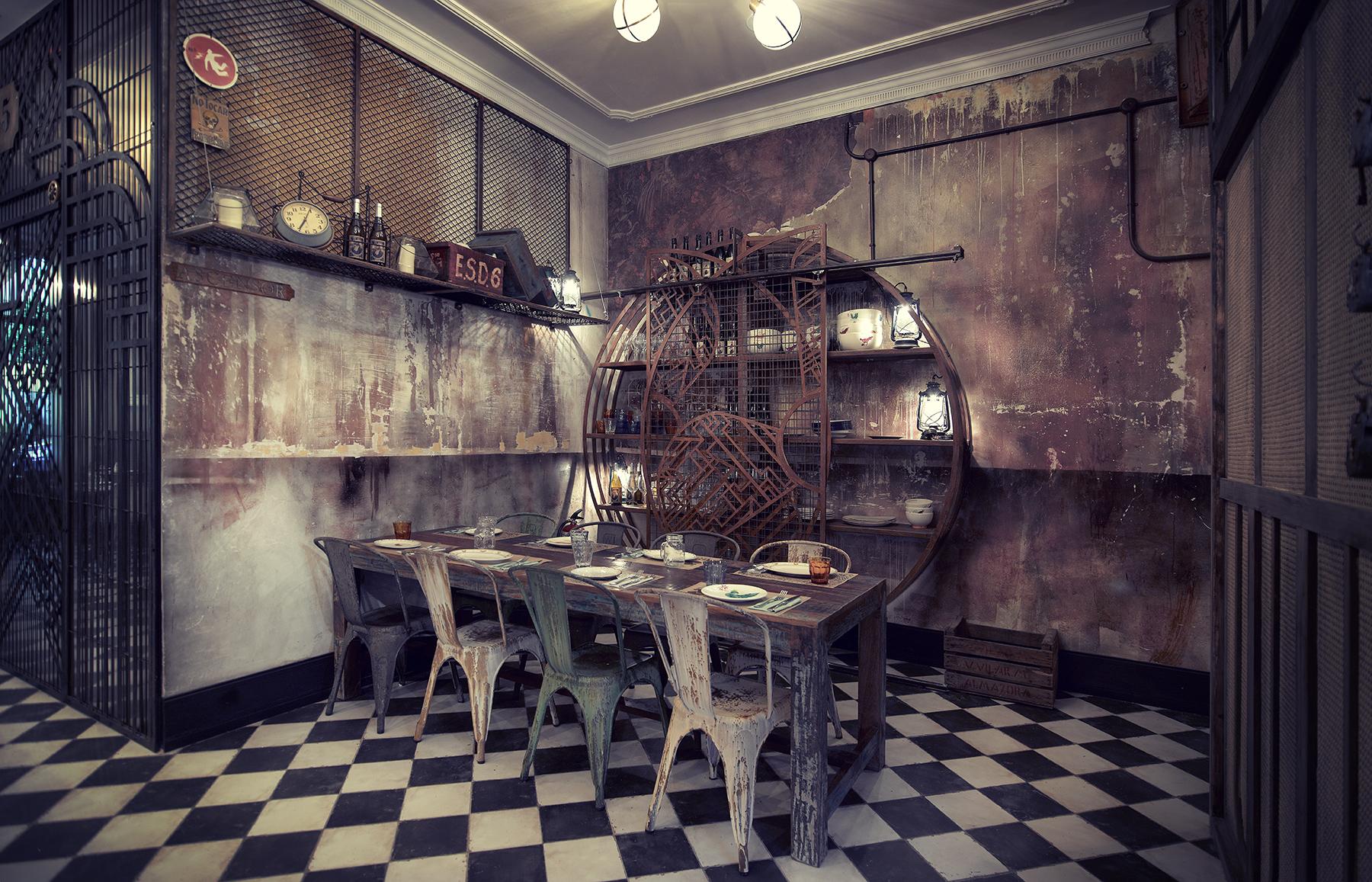 Proyectos de interiorismo n5 burger lujo y decadencia for Pintura estilo industrial