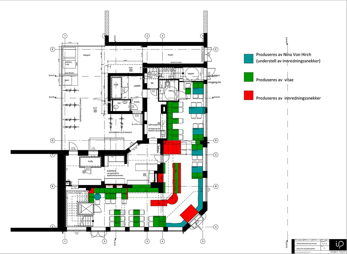 Fotos. Plano proyecto interiorismo restaurante escalón.