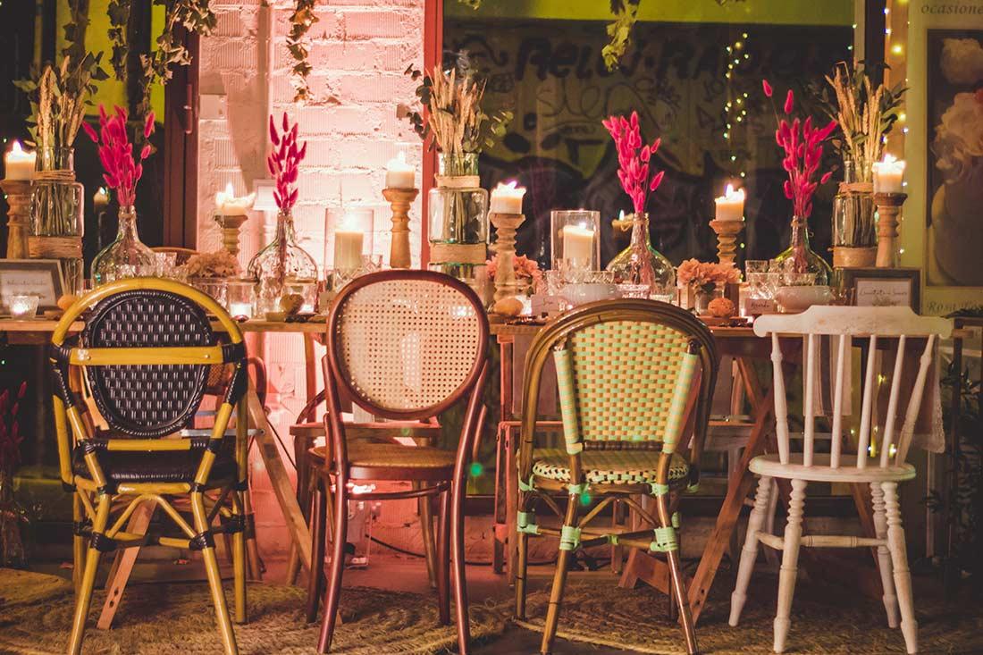 Menaje y mobiliario para empresas de catering y eventos.