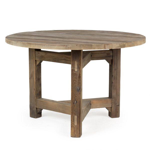 Mesa redonda estilo rústico.