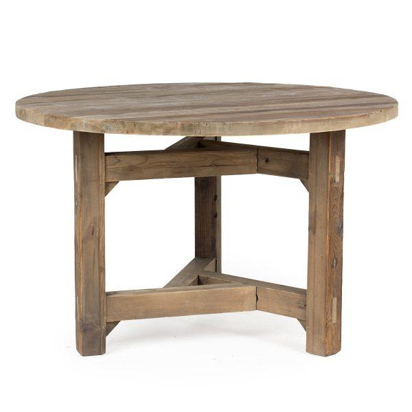 Mesa redonda rústica.