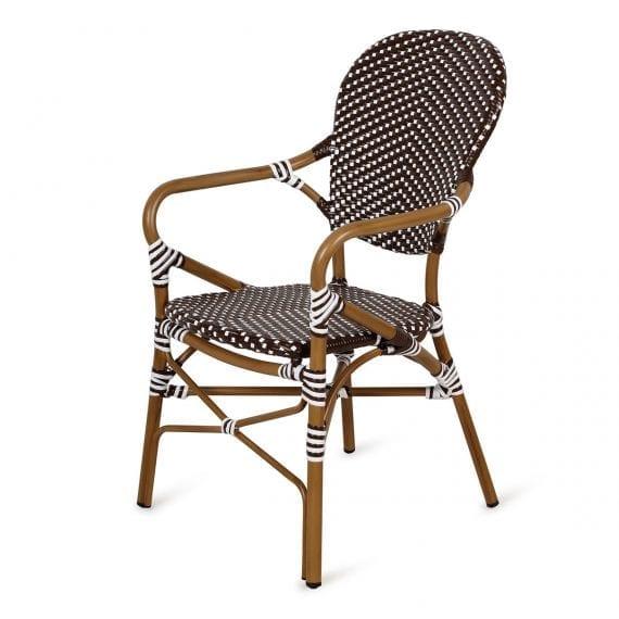 Chaises de bistrot pour terrasses avec accoudoirs.