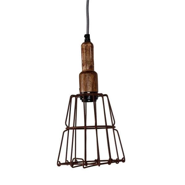Lampe en forme de cage industrielle.