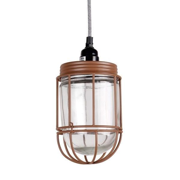 Lampe industrielle pour aménagement de cafétéria.