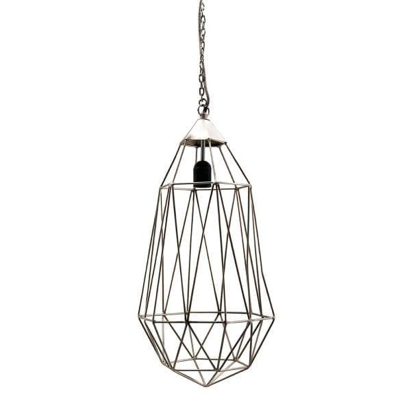 Lampe de plafond argentée pour agencement entreprise.