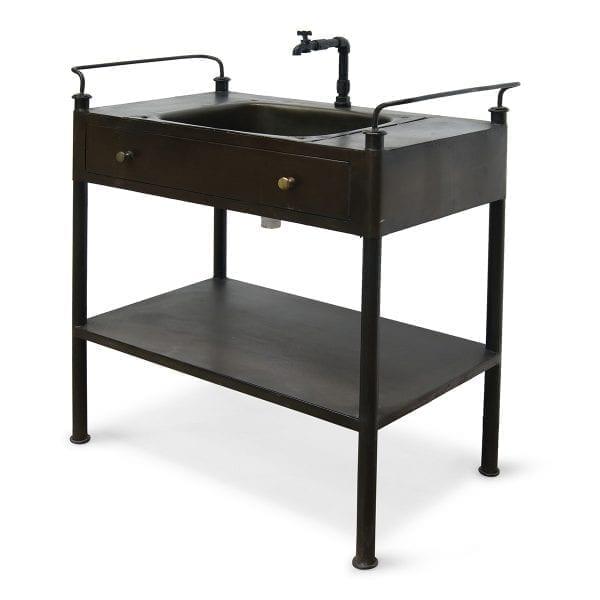 Imágenes del lavabo con mueble de estilo industrial brezo.