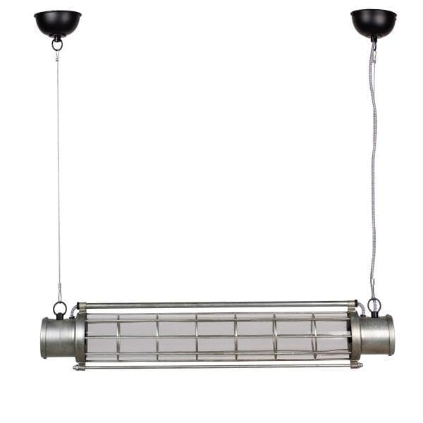 Luminaire de suspension industriel en métal.