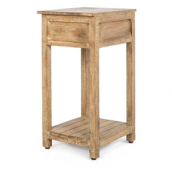 Mesa auxiliar de madera de mango.