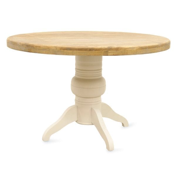 Imágenes. Mesas de madera con pie central modelo Dalia.