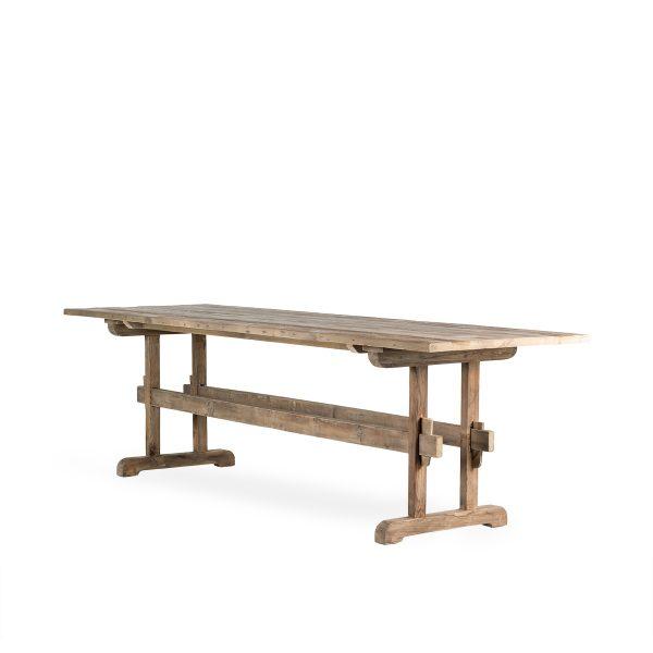 Mesas madera rectangulares cafetería.