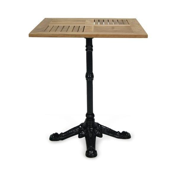 Table de terrasse avec le dessus carré en bois de teck.