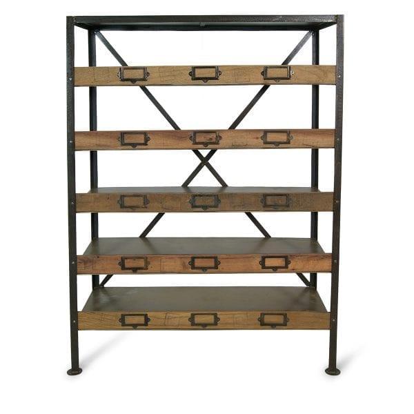 Étagère en bois pour magasins ou commerces.